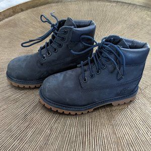 TIMBERLAND Navy Leather Little Kids 6 Inch Premium Boot